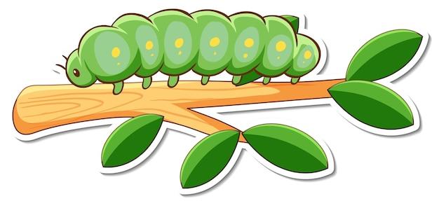 Stripfiguur van groene worm op een tak sticker