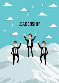 Stripfiguur van het team op de berg. leiderschap concept