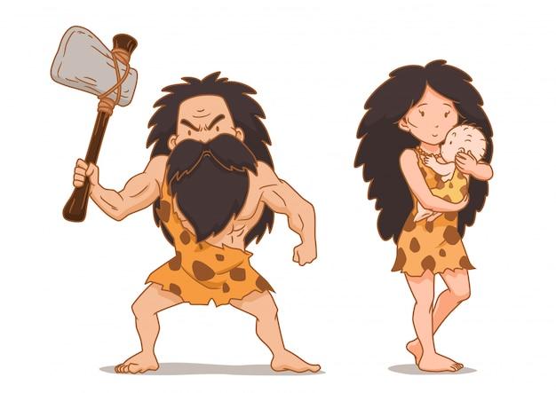 Stripfiguur van holbewoner met stenen bijl en cavewoman dragende baby.