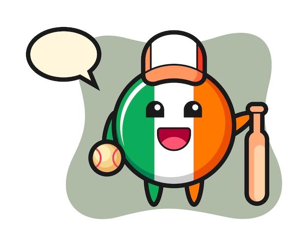 Stripfiguur van ierland vlag badge als een honkbalspeler