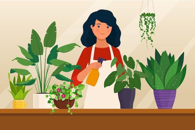 Stripfiguur van jonge vrouw die voor kamerplanten zorgt kamerplant hobby vectorillustratie