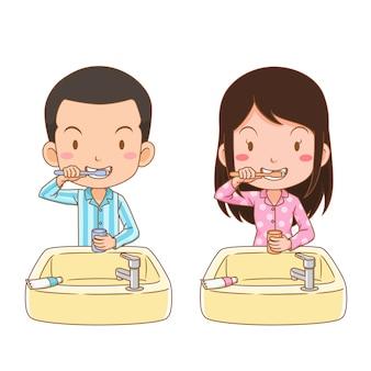 Stripfiguur van jongen en meisje tanden poetsen.