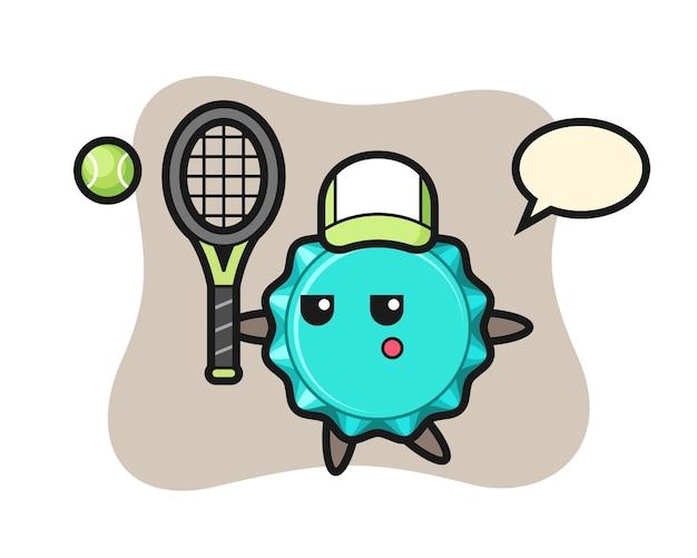 Stripfiguur van kroonkurk als een tennisser