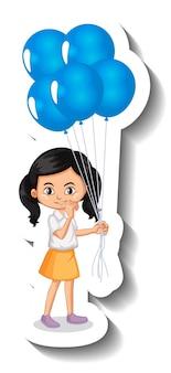 Stripfiguur van meisje met veel ballonnen cartoon sticker