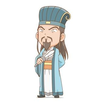 Stripfiguur van oude chinese filosoof.