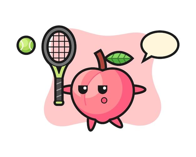 Stripfiguur van perzik als tennisser, schattig stijlontwerp voor t-shirt