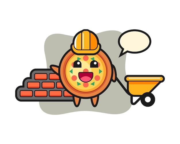 Stripfiguur van pizza als bouwer
