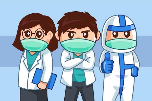 Stripfiguur van professionele medisch team