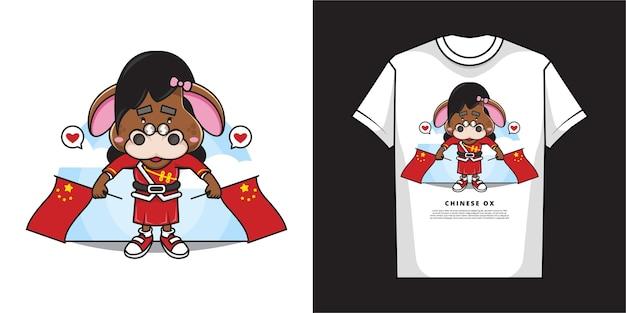 Stripfiguur van schattig ossenmeisje houdt twee chinese vlaggen met t-shirtontwerp vast