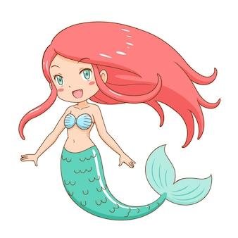 Stripfiguur van schattige zeemeermin meisje.