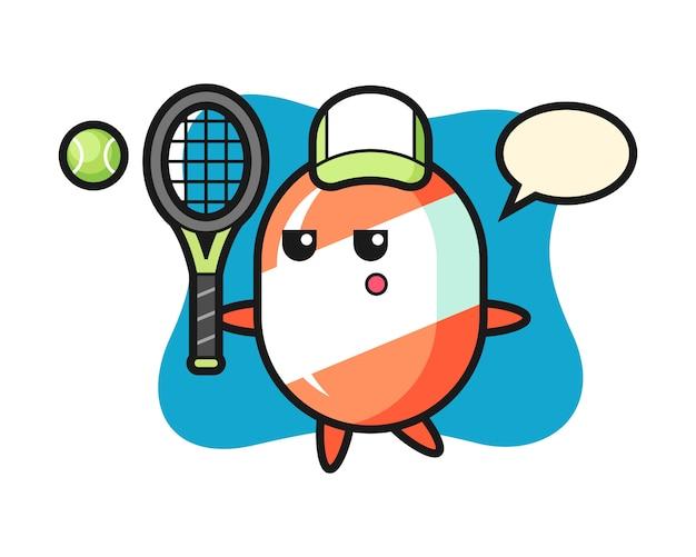 Stripfiguur van snoep als een tennisser
