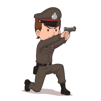 Stripfiguur van thaise politie wijst een pistool.