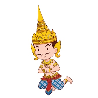 Stripfiguur van thaise traditionele engel man.