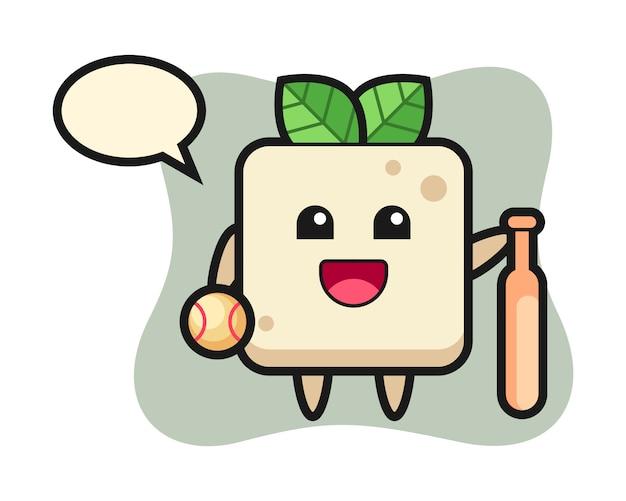 Stripfiguur van tofu als honkbalspeler, schattig stijlontwerp voor t-shirt