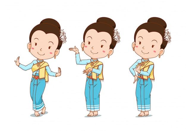 Stripfiguur van traditionele thaise danseres meisje in verschillende poses.