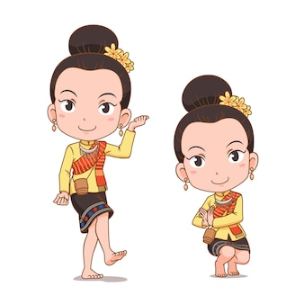 Stripfiguur van traditionele thaise danseres meisje. serng kratip-dans.