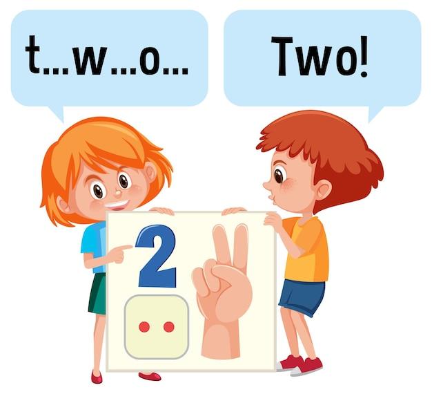 Stripfiguur van twee kinderen die de nummer twee spellen