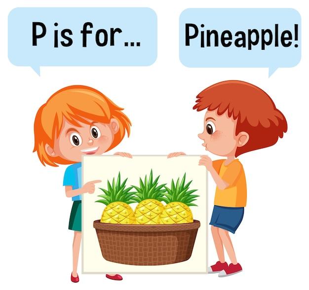 Stripfiguur van twee kinderen die fruitwoordenschat spellen