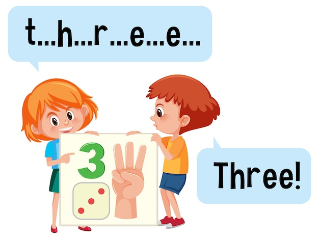 Stripfiguur van twee kinderen die het getal drie spellen
