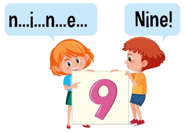 Stripfiguur van twee kinderen die het getal negen spellen