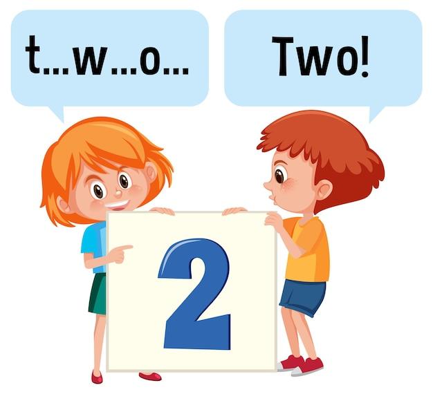 Stripfiguur van twee kinderen die het getal twee spellen