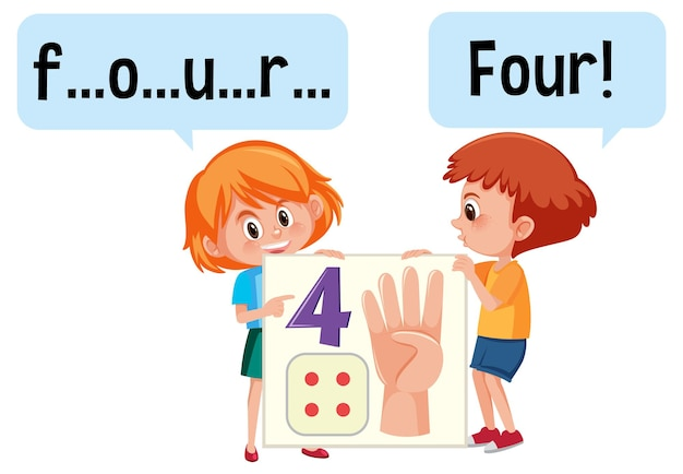 Stripfiguur van twee kinderen die het getal vier spellen