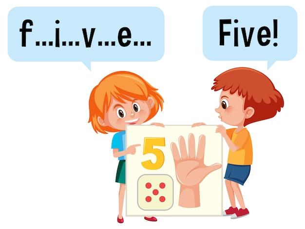Stripfiguur van twee kinderen die het getal vijf spellen