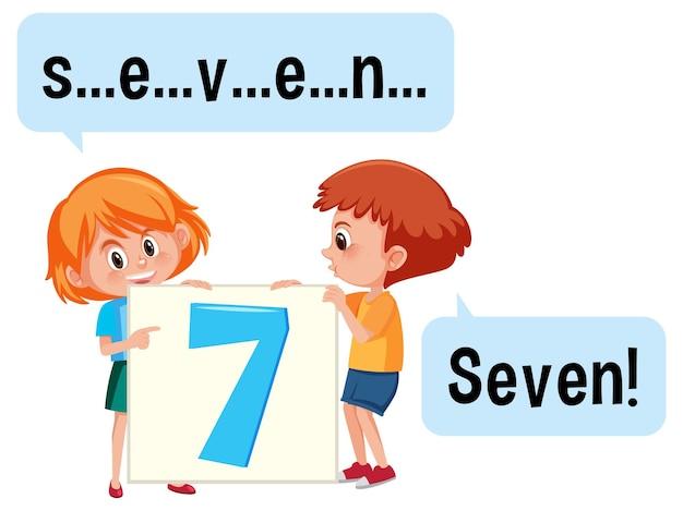 Stripfiguur van twee kinderen die het getal zeven spellen