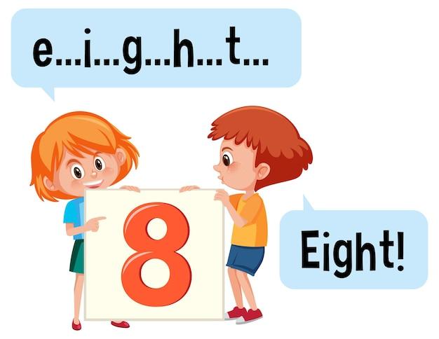 Stripfiguur van twee kinderen die het nummer acht spellen