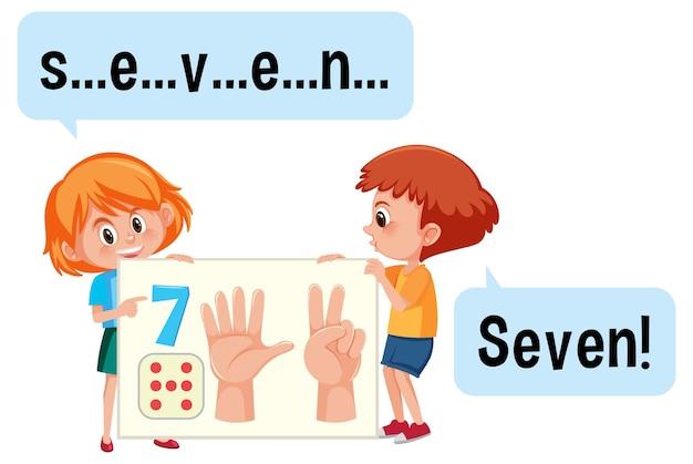 Stripfiguur van twee kinderen die het nummer zeven spellen
