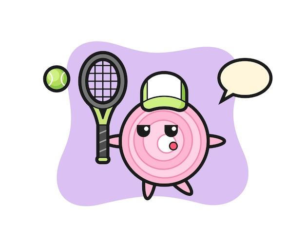 Stripfiguur van uienringen als tennisser, schattig stijlontwerp voor t-shirt, sticker, logo-element