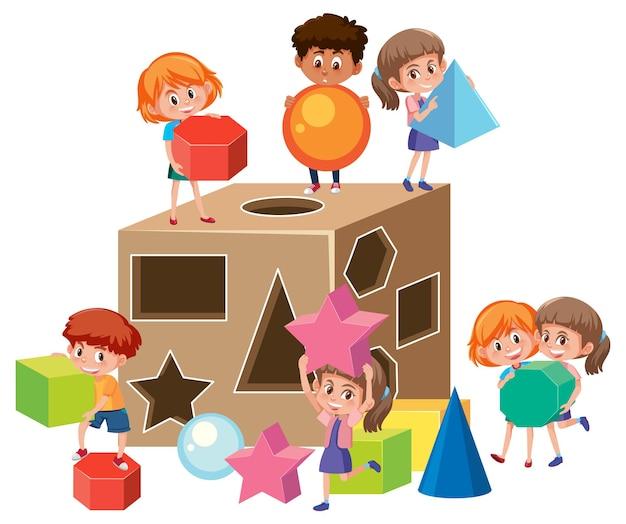 Stripfiguur van veel kinderen die met speelgoed met vormen spelen