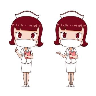 Stripfiguur van verpleegster hygiënische masker dragen.
