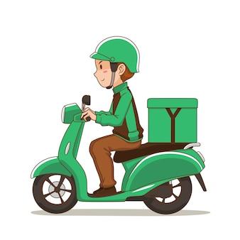 Stripfiguur van voedselbezorging man groene motorfiets rijden.