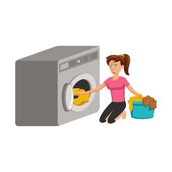 Stripfiguur van vrouw kleren wassen