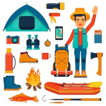 Stripfiguur van wandelaar met rugzak en accessoires voor wandelen, vissen en kamperen. illustratie