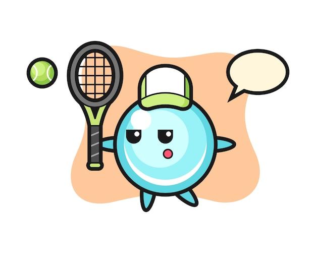 Stripfiguur van zeepbel als een tennisser, schattig stijlontwerp