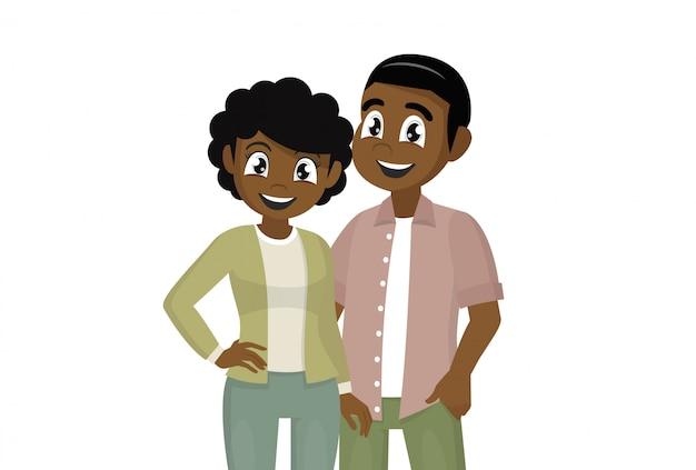 Stripfiguur vormt, paar jonge mensen. afrikaanse man en vrouw knuffel.