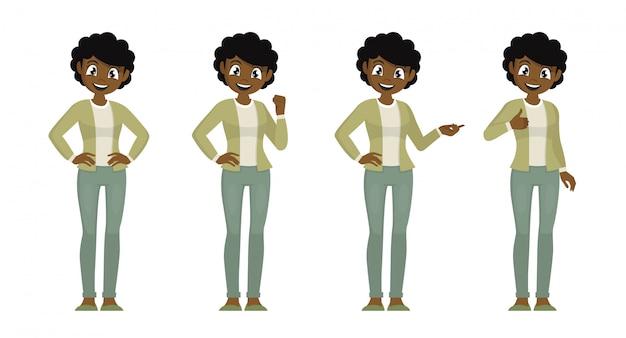 Stripfiguur vormt, set van afrikaanse vrouwen in casual doek met verschillende expressie.