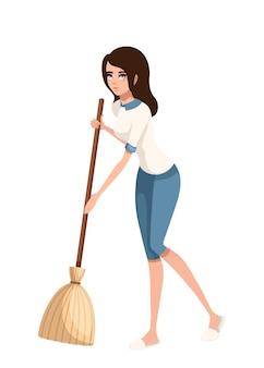 Stripfiguur. vrouwen die vloer met bezem schoonmaken.