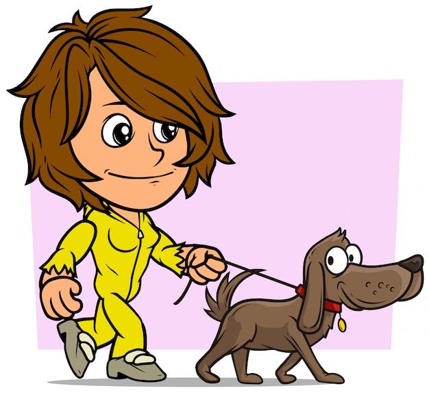 Stripfiguur wandelende brunette meisje met hond