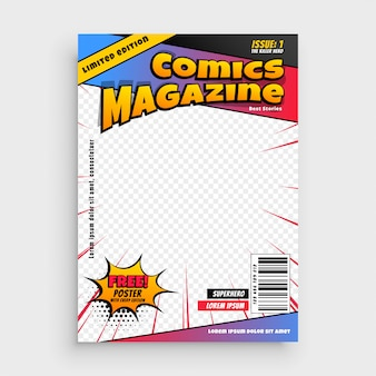 Stripmagazine boek omslagsjabloon
