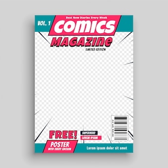 Stripmagazine voorbladsjabloon