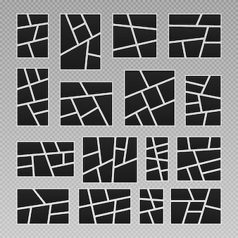 Strippagina rasterlay-out abstracte fotolijsten en digitale foto creatieve vector sjabloon collage