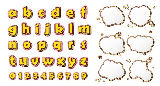 Strips lettertype, cartoonachtig geel-roze alfabet en set van tekstballonnen
