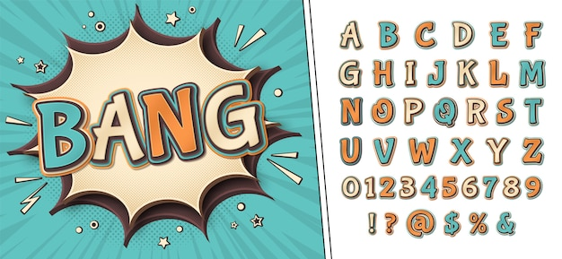 Strips lettertype en poster met woord bang. alfabet in stijl van pop-art. meerlagige retro letters met halftoon effect