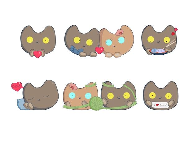 Strips set stickers met katten houden van valentijnsdag