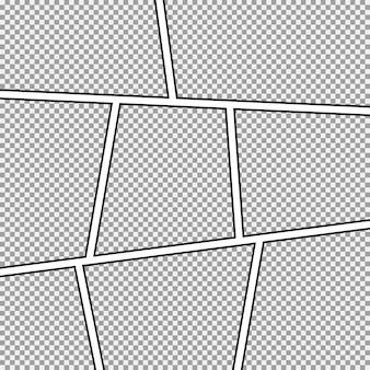 Stripverhaal achtergrondkader. verschillende panelen.