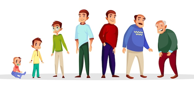 Stripverhaal mannelijke karakter groei en verouderingsproces.