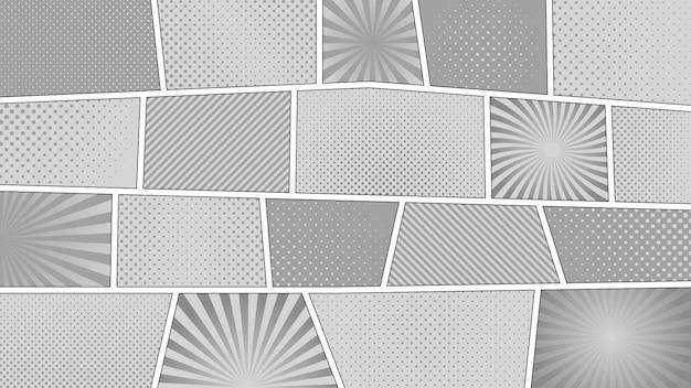 Stripverhaal zwart-wit achtergrond. verschillende kleurrijke panelen. stralen, lijnen, punten.